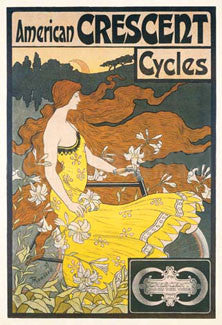 Vintage Cycling American Crescent Cycles c.1899 Vintage Reprint Poster (Artist: Ramsdell)