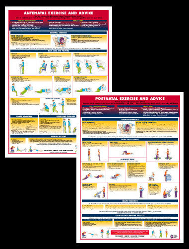 Antenatal and Postnatal Exercise and Advice Health and Fitness Wall Charts 2-POSTER SET - Chartex