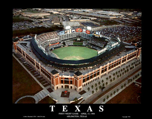 "Texas Rangers Ballpark in Arlington ""First Night Game"" (1994) Poster Print - Aerial Views"