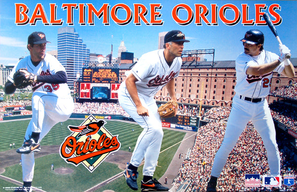 "Baltimore Orioles ""Three Stars"" Poster (Mike Mussina, Cal Ripken Jr., Rafael Palmeiro) - Starline 1995"