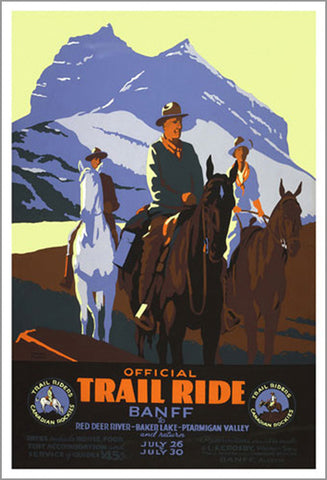 "Banff, Alberta ""Official Trail Ride"" (c.1935) Vintage Poster Reprint"
