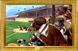 "Dog Baseball ""One to Tie, Two to Win"" Poster - Aquarius Images"