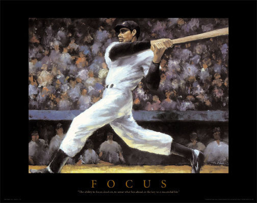 "Baseball ""Focus"" Motivational Art Poster Print - Front Line"