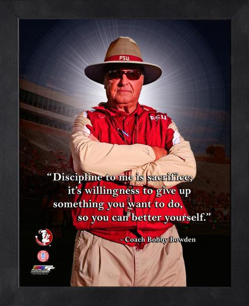 "Bobby Bowden ""Discipline"" Florida State Seminoles FRAMED 16x20 PRO QUOTES PRINT - Photofile"