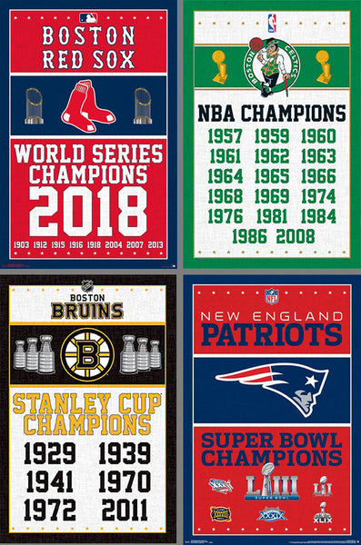 COMBO: Boston Sports Championship Years 4-Poster Set (Bruins, Patriots, Celtics, Red Sox)