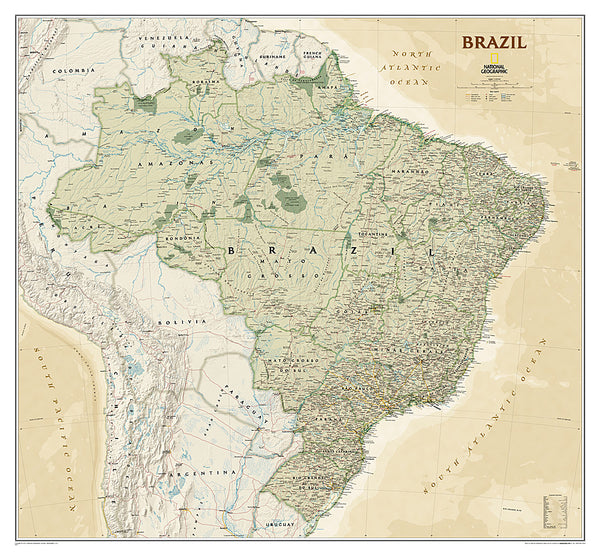 Map of BRAZIL National Geographic Executive Edition 38x41 Brasil Wall Map Poster - NG Maps