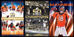 COMBO: Denver Broncos Super Bowl 50 Champs NFL Football 3-Poster Combo Special