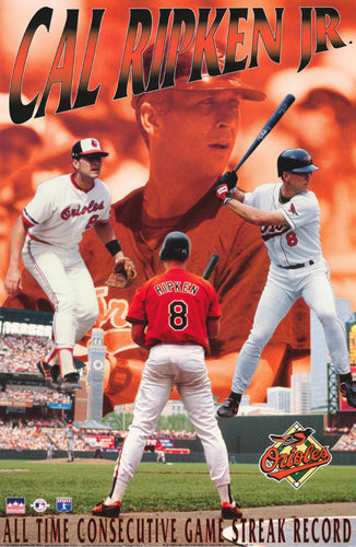 Cal Ripken Jr. All-Time Consecutive Game Record Baltimore Orioles Poster - Starline 1995