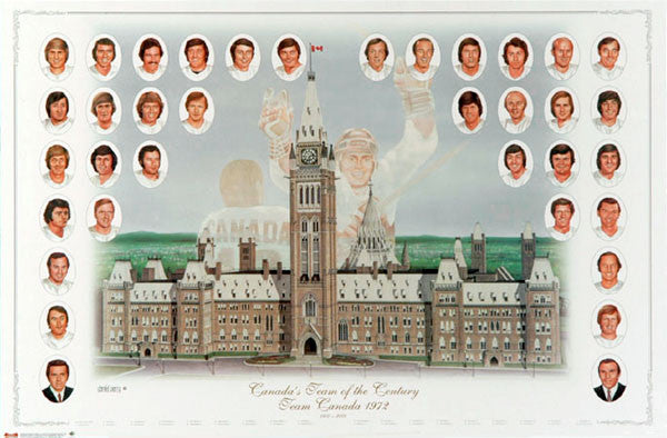 "Team Canada 1972 ""Canada's Team of the Century"" Summit Series Roster Poster - Heritage Hockey"