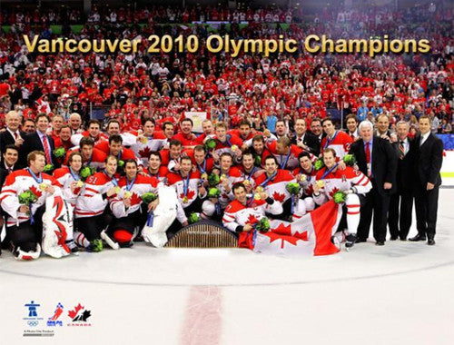 Team Canada Hockey Vancouver 2010 Olympic Gold Celebration Portrait Poster - Photofile