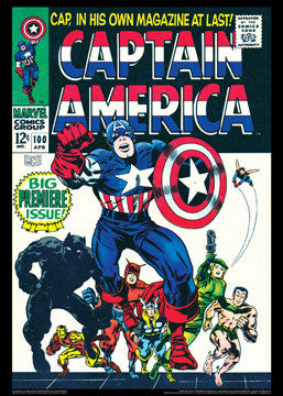 Captain America #100 (Apr. 1968) Vintage Marvel Comics Cover Poster Print - Asgard Press