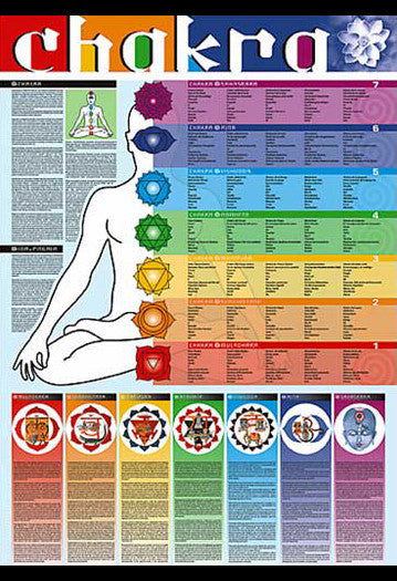 Chakras of the Human Body Yoga Wall Chart - Ricordi Arte 2005