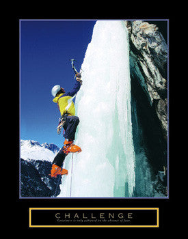 "Ice Climbing ""Challenge"" Motivational Poster - Front Line"