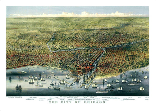 Chicago, Illinois 1874 Classic Aerial Panorama Premium Poster Print (Parsons and Atwater)