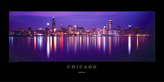 "Chicago Skyline ""Reflections"" Premium Skyline Poster Print - Rick Anderson Enterprises"