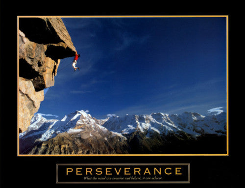 "Rock Climbing ""Perseverance"" Cliffhanger Motivational Poster - Front Line"