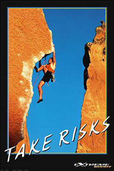"Rock Climbing ""Take Risks"" Motivational Poster -Eurographics"