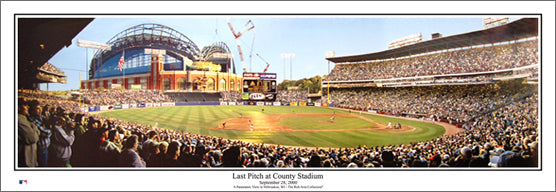 "Milwaukee Brewers ""Last Pitch at County Stadium"" (2000) Panoramic Poster Print - Everlasting Images (WI-244)"
