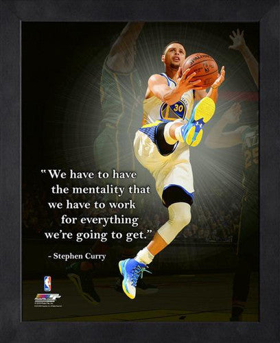 "Stephen Curry ""Hard Work"" Golden State Warriors FRAMED 16x20 PRO QUOTES PRINT - Photofile"