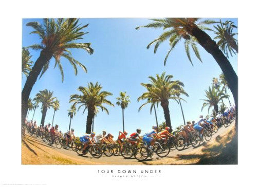 "Tour Down Under ""Seppeltsfield Palm Trees"" Australia Cycling Poster Print - Graham Watson 2010"