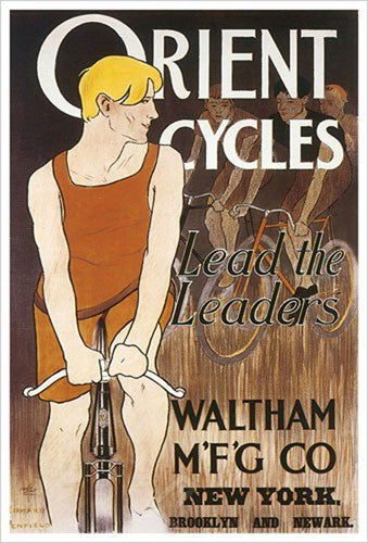 "Orient Cycles ""Lead the Leaders"" Classic Art Nouveau Cycling Poster (c.1895) Reprint - Eurographics"
