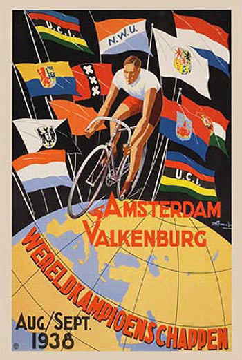 1938 World Cycling Championships Event Poster Vintage Reprint - Horton Collection