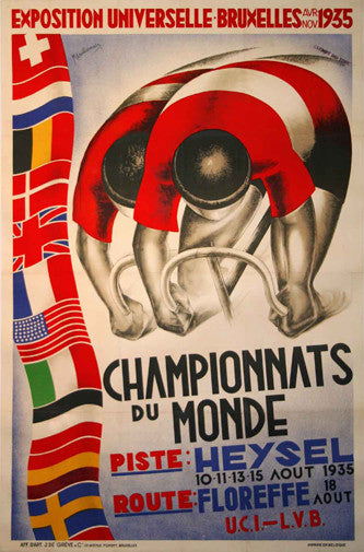 1935 World Cycling Championships Vintage Event Poster Reprint - The Horton Collection