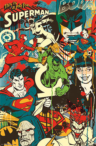 "DC Comics ""Throwback"" Classic Comic Book Characters Collage Poster - Trends Int'l."