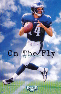 "Ty Detmer ""On the Fly"" Philadelphia Eagles NFL QB Poster - Costacos Brothers 1996"