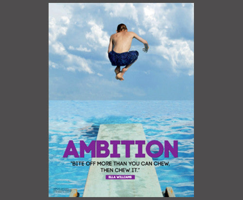 "Swimming off Diving Board ""Ambition"" (Bite Off More Than You Can Chew) Poster - Jaguar"