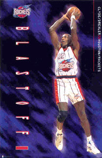 "Clyde Drexler ""Blastoff!"" Houston Rockets Poster - Costacos Brothers 1995"