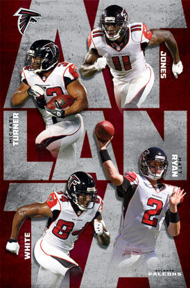 "Atlanta Falcons ""Super Four"" NFL Action Poster - Costacos 2012"