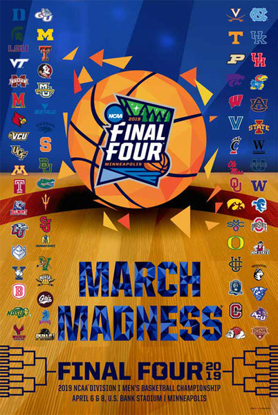 NCAA March Madness 2019 Men's Basketball Championships Official Poster (68-Team Field) - ProGraphs