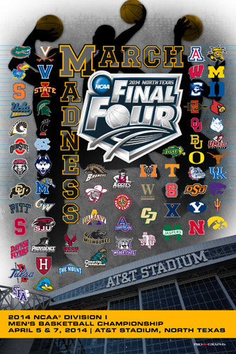 NCAA Men's Basketball March Madness 2014 Official Poster (68-Team Field) - Prographs