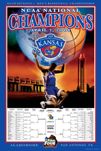 Kansas Jayhawks Men's Basketball 2008 National Champions Poster - Action Images