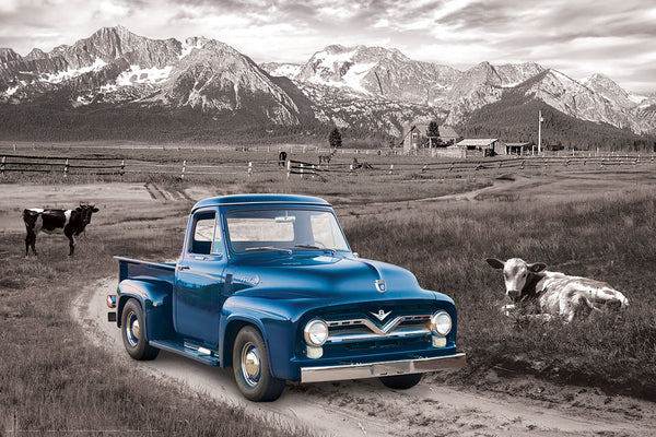 Ford F-100 Pickup Truck (1954 Model) on a Mountain Ranch Farm Classic Automotive Poster - Eurographics Inc.