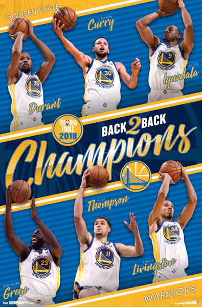 Golden State Warriors 2018 Back-to-Back NBA Champions 6-Player Commemorative Poster