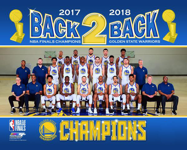 Golden State Warriors 2017-18 Back-2-Back NBA Champions Official Team Portrait Premium Poster Print - Photofile