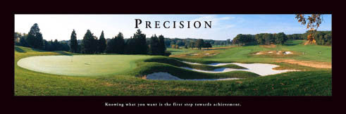 "Golf ""Precision"" Motivational Poster (Impossible Green Panorama) - Front Line (12x36)"