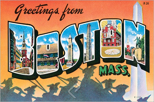 Greetings from Boston c.1962 Teich Company Postcard Poster-Sized Reprint - Eurographics