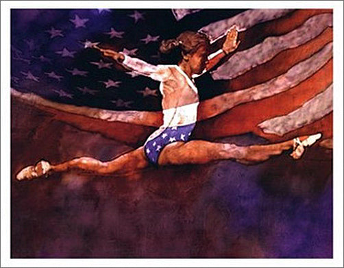 Gymnastics Glory USA Classic Olympic Sports Poster Print - Front Line