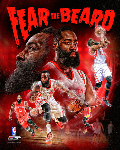 "James Harden ""Fear the Beard"" Houston Rockets Premium 16x20 Poster Print - Photofile Inc."