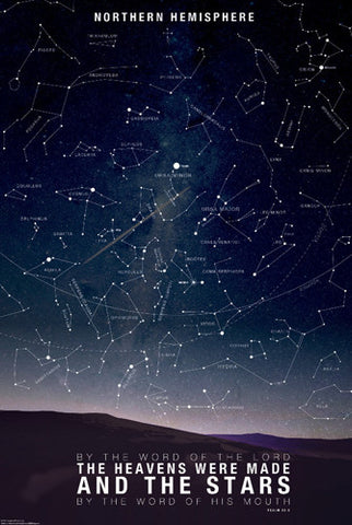 "Map of the Stars ""By the World of the Lord"" (Psalm 33:6) Astrology Poster - Slingshot Publishing"