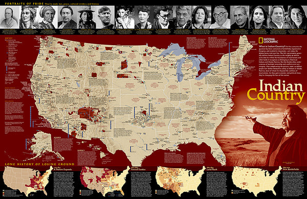 Indian Country Native Cultures of the United States National Geographic 20x31 Wall Map Poster - NG Maps