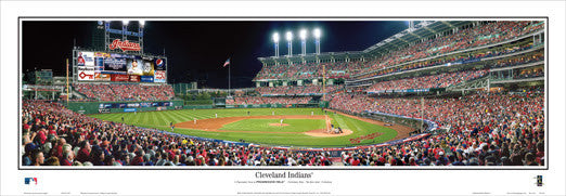 Cleveland Indians Progressive Field Playoff Game Night Panoramic Poster - Everlasting Images