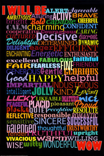 I Will Be (78 Adjectives for Success) Inspirational Poster - W&G