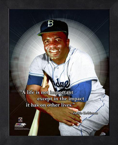 "Jackie Robinson ""Impact"" Brooklyn Dodgers FRAMED 16x20 PRO QUOTES PRINT - Photofile"