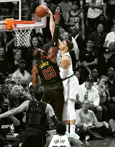 Jayson Tatum POSTERIZES LeBron James (2018 Eastern Conference Finals) Boston Celtics Premium Poster Print - Photofile 16x20