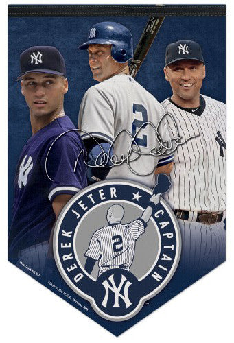 "Derek Jeter ""Captain Forever"" Official New York Yankees #2 Retirement Commemorative Wall BANNER"