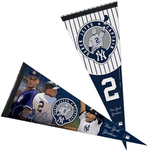 "Derek Jeter ""Captain Forever"" Official New York Yankees Commemorative Premium 2-PENNANT COMBO SET"